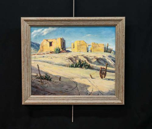 Acrylic Western Landscape Painting. Framed in Sonoma Driftwood,