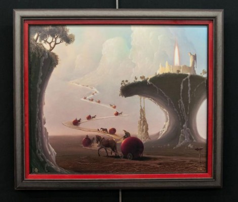 Layered Cherry Red Frame + Surreal Painting | Color Theory at its Best