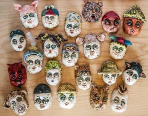 Penney Bidwell - Ceramic character masks