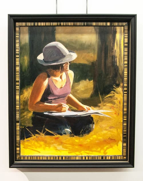 Woman Painting custom framed piece