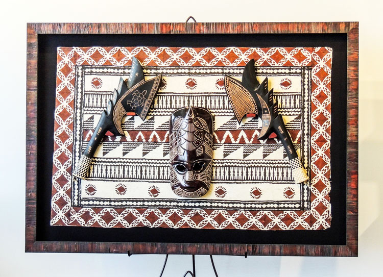 Tribal Mask, Weapons and Textile Custom Framed