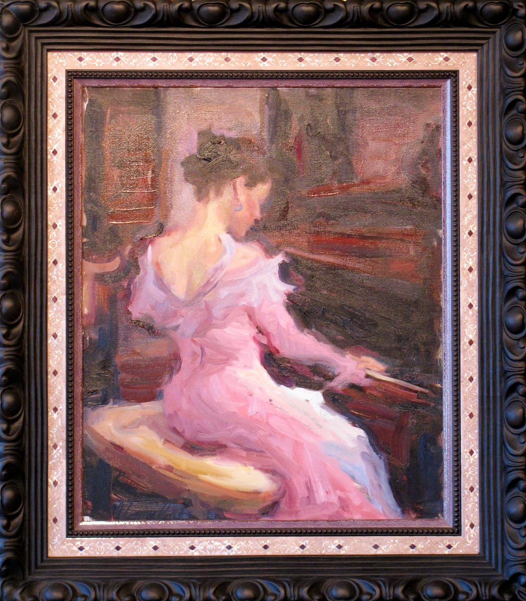Original oil framed in multi-element frame